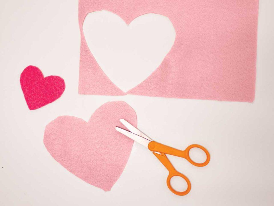 layered hearts felt craft