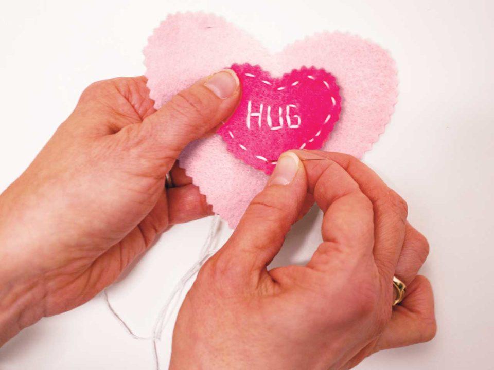 stuffed heart felt Valentines craft