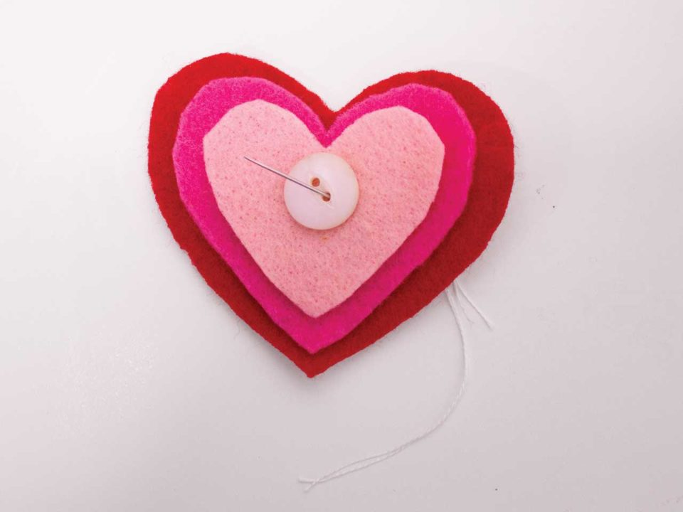 layered hearts felt crafts valentines