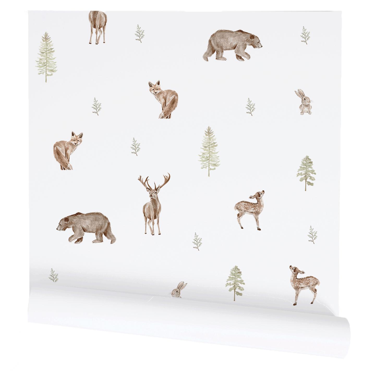 Woodland animal wallpaper