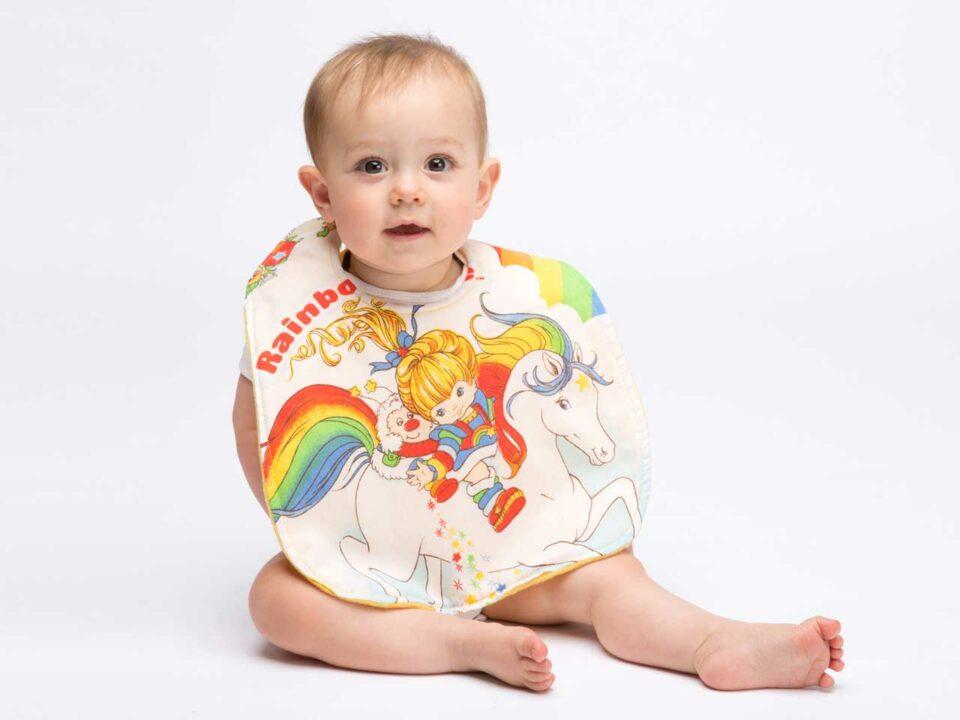 Rainbow Brite bib by Hip Violet.
